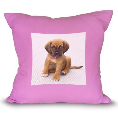fialový polštář s vlastním potiskem